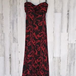 David Meister Strapless Silk Dress
